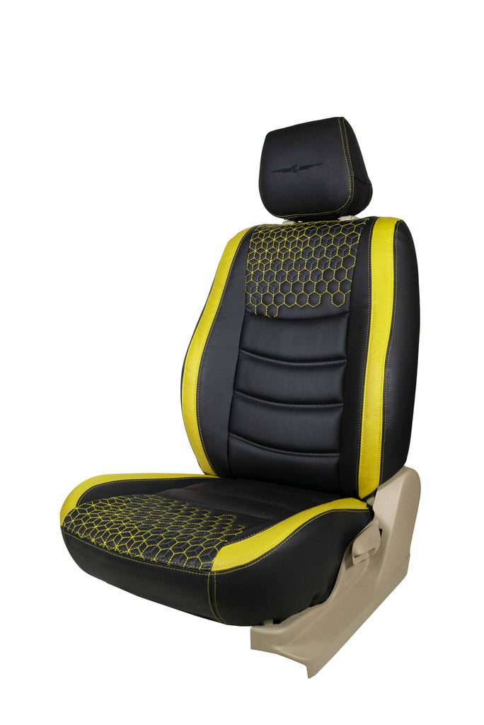 Glory Prism Art Leather Car Seat Cover Black and Yellow