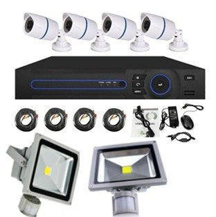 Security Kit- 4 Channel AHD CCTV + 2 IR Flood Lights
