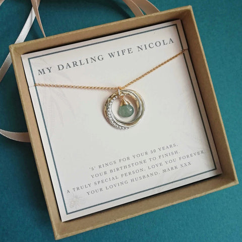 Personalised 50th birthday necklace with birthstone
