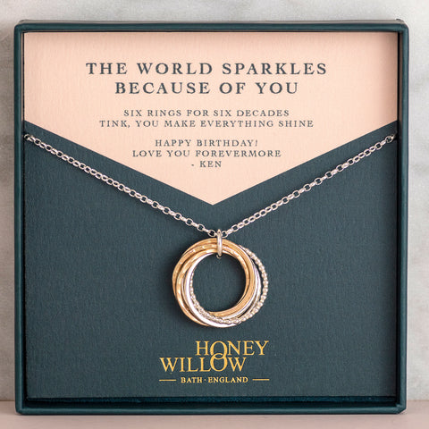 60th birthday necklace Honey Willow