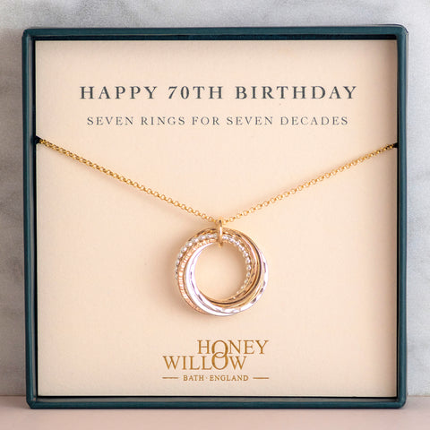 70th birthday necklace Honey Willow