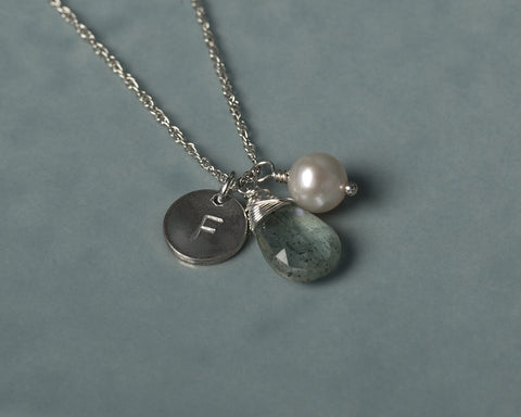 Personalised birthstone necklace, initial necklace with birthstone