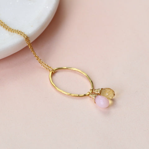Mothers birthstone necklace Honey Willow