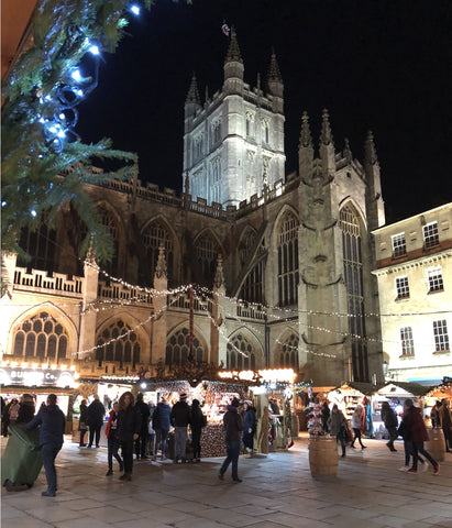 Bath Abbey at Bath Christmas Market - view from Honey Willow chalet