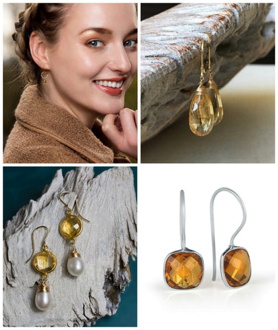 citrine earrings, november birthstone earrings