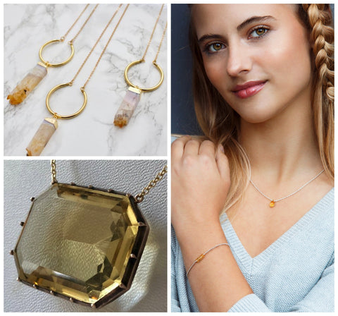 Citrine necklace, November birthstone necklaces