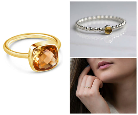 Citrine rings, November birthstone rings