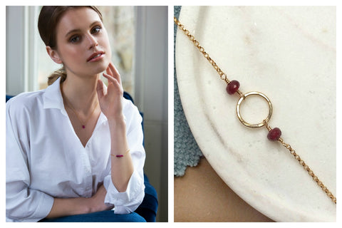 delicate ruby jewellery for July birthdays - honey willow