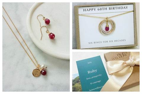 personalised ruby jewellery, 60th birthday gift, honey willow packaging