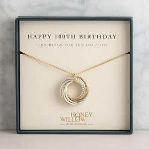 100th Birthday Necklace | 10 Rings for 10 Decades