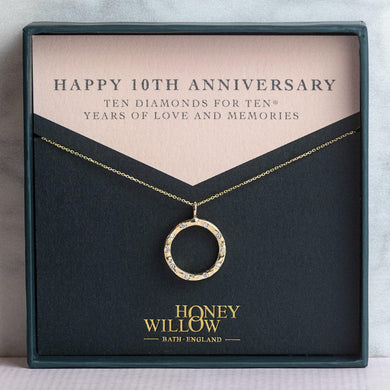 10th Anniversary Gift - 9kt Gold Diamond Halo Necklace - 10 Diamonds for 5® Years