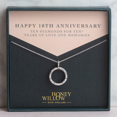 10th Anniversary Gift - Silver Diamond Halo Necklace - 10 Diamonds for 10® Years