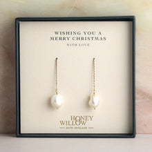 Load image into Gallery viewer, 14k Gold Threader Earrings with Pearls