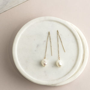 14k Gold Threader Earrings with Pearls
