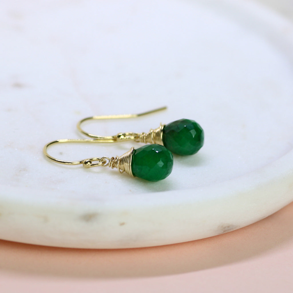 Emerald earrings, May birthstone jewelry, dangle earrings, emerald jewelry, May birthday gift - Sophie