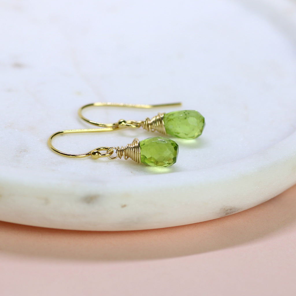 Peridot earrings, August birthstone jewelry, dangle earrings, peridot jewelry, August birthday gift - Sophie