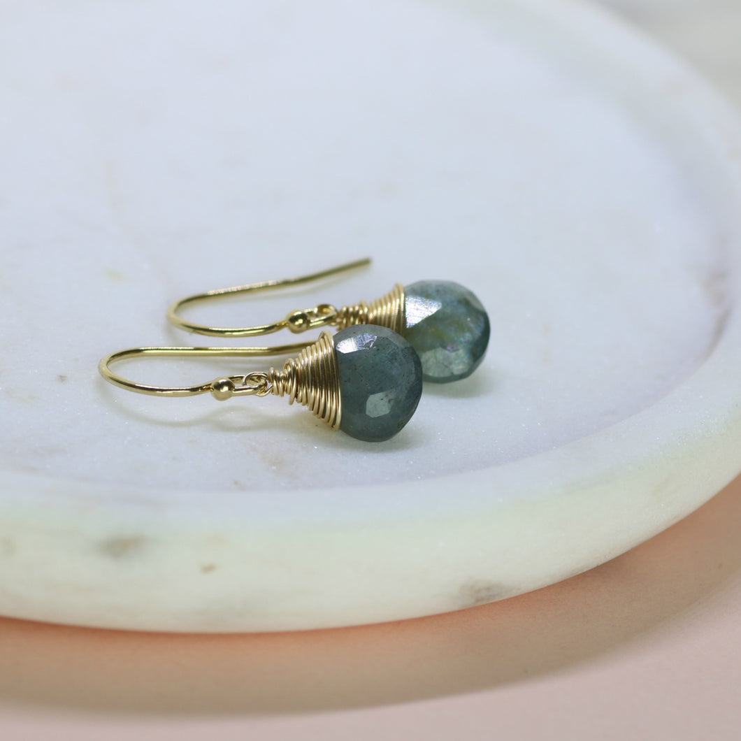 Dainty March Birthstone Earrings