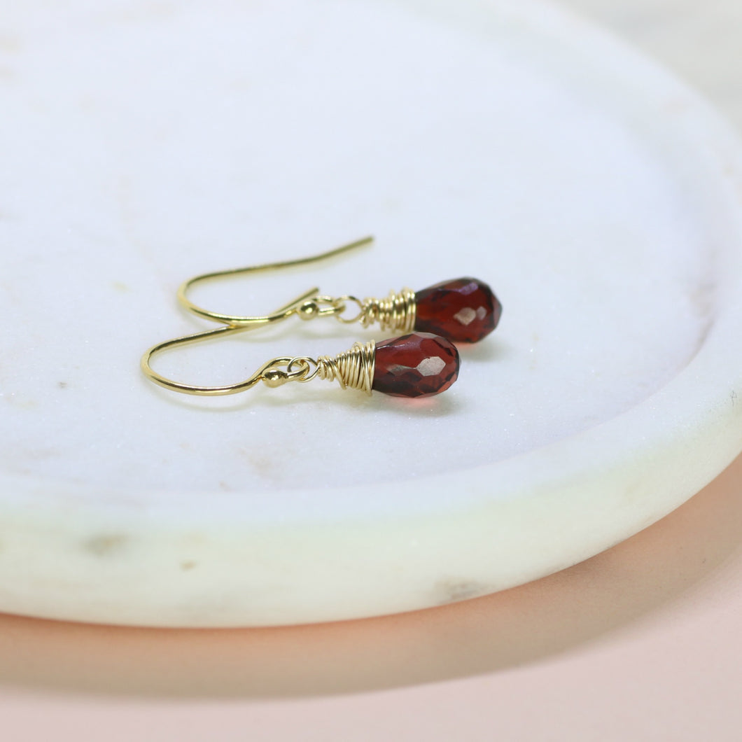 Dainty January Birthstone Earrings