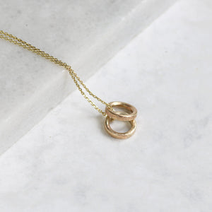 Dainty 9ct Gold Circles Necklace, Gold Minimalist Necklace - Lilia