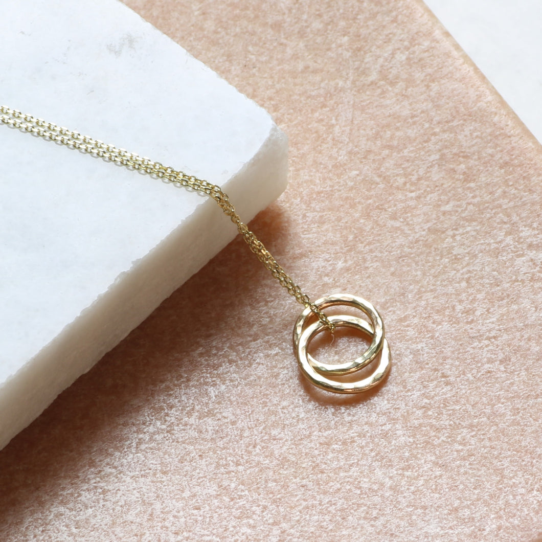 Dainty 9ct Gold Double Ring Necklace, Delicate Gold Connected Ring Jewelry - Lilia