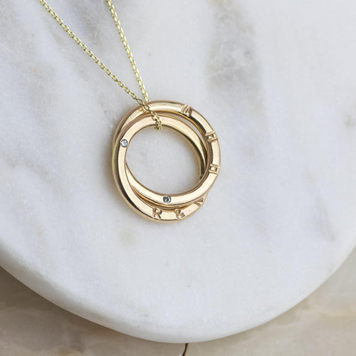 Personalised 9kt Gold Double Ring Diamond Necklace