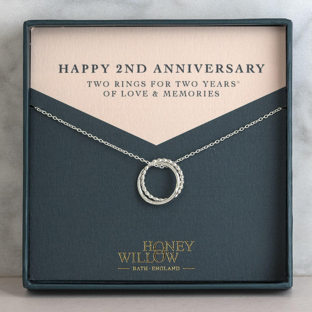 2nd Anniversary Petite Silver Necklace - 2 Rings for 2 Years