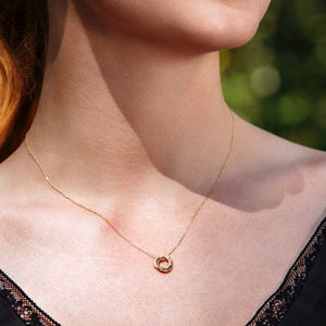 Dainty 9ct Gold Entwined Rings Necklace, Delicate Gold Linked Circles Jewelry - Lilia