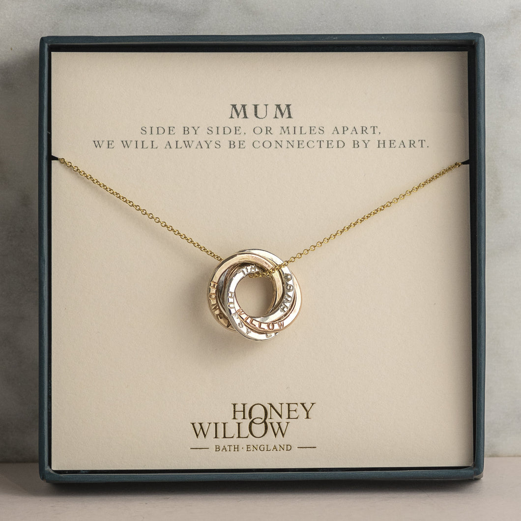 Meaningful Gift for Mum - Mixed Metal Family Names Necklace