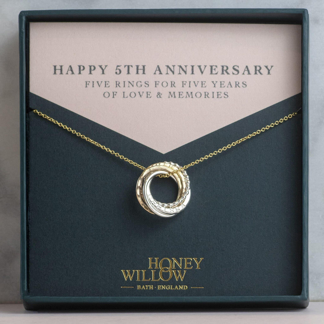 Personalised Petite 5th Anniversary Necklace - 5 Rings for 5 Years