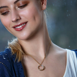 Model wearing Honey Willow 5th Anniversary necklace