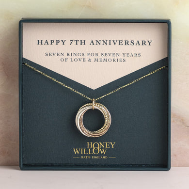 9kt Gold 7th Anniversary Necklace - Rose Gold - Yellow Gold - Silver