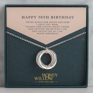 Personalised 70th Birthday Necklace - Silver - Hand-Stamped
