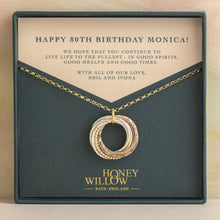 Load image into Gallery viewer, 9kt Gold 80th Birthday Necklace - Rose Gold - Yellow Gold - Silver