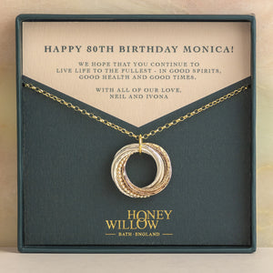 9kt Gold 80th Birthday Necklace - Rose Gold - Yellow Gold - Silver