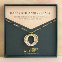 Load image into Gallery viewer, 9kt Gold 8th Anniversary Necklace - Rose Gold - Yellow Gold - Silver