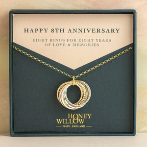9kt Gold 8th Anniversary Necklace - Rose Gold - Yellow Gold - Silver