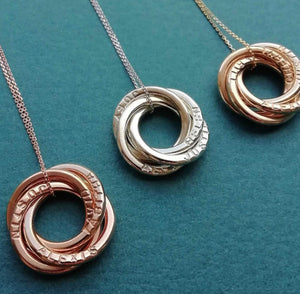 9kt gold love knot necklaces with names