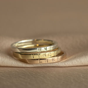 9kt Gold Personalised Name Rings
