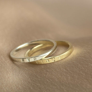 9kt Gold & White Gold Personalised Name Rings