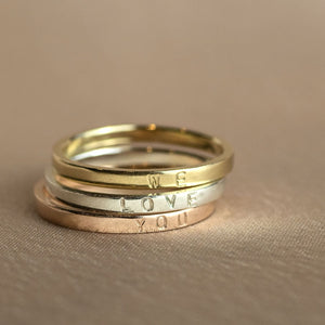 9kt Gold Personalised Rings Stack