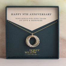 Load image into Gallery viewer, 9kt Gold 9th Anniversary Necklace - Rose Gold - Yellow Gold - Silver