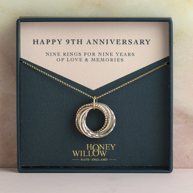 9kt Gold 9th Anniversary Necklace - Rose Gold - Yellow Gold - Silver