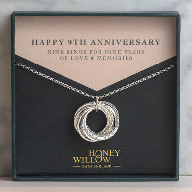 Personalised 9th Anniversary Necklace - Silver - Hand Stamped