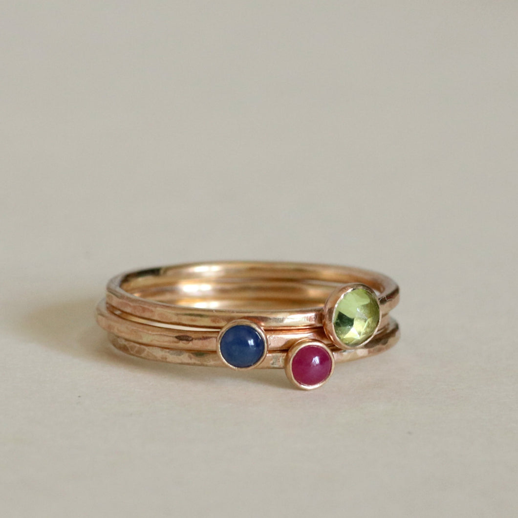 14kt Gold Birthstone Rings Set of Three
