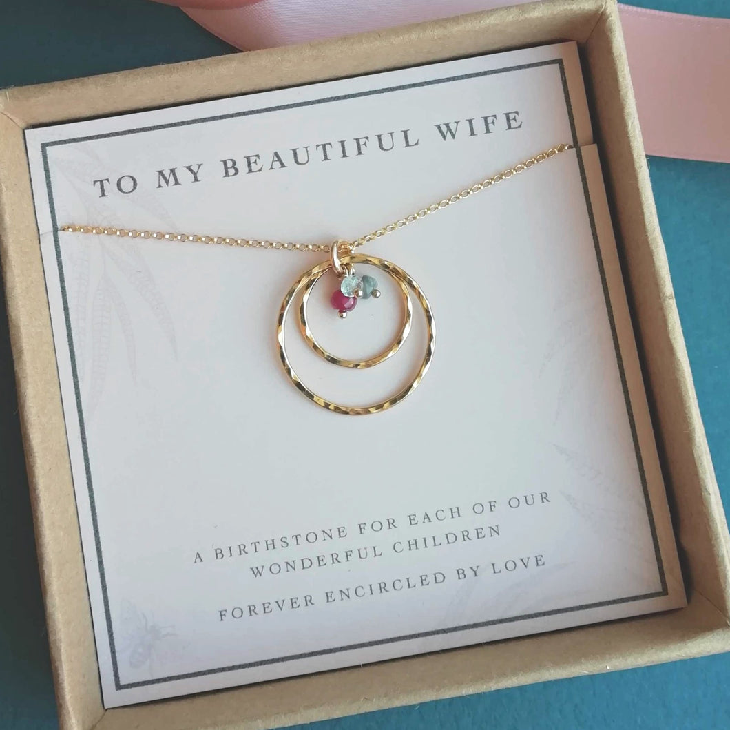 Family Birthstone Necklace for Wife