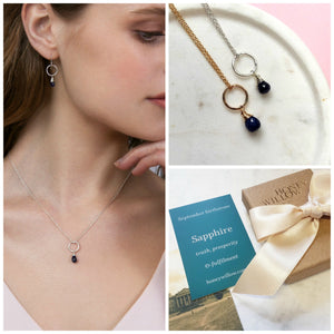 September birthstone necklace, dainty sapphire necklace for September birthday - Clare