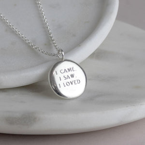 Personalised Engraved Silver Pendant