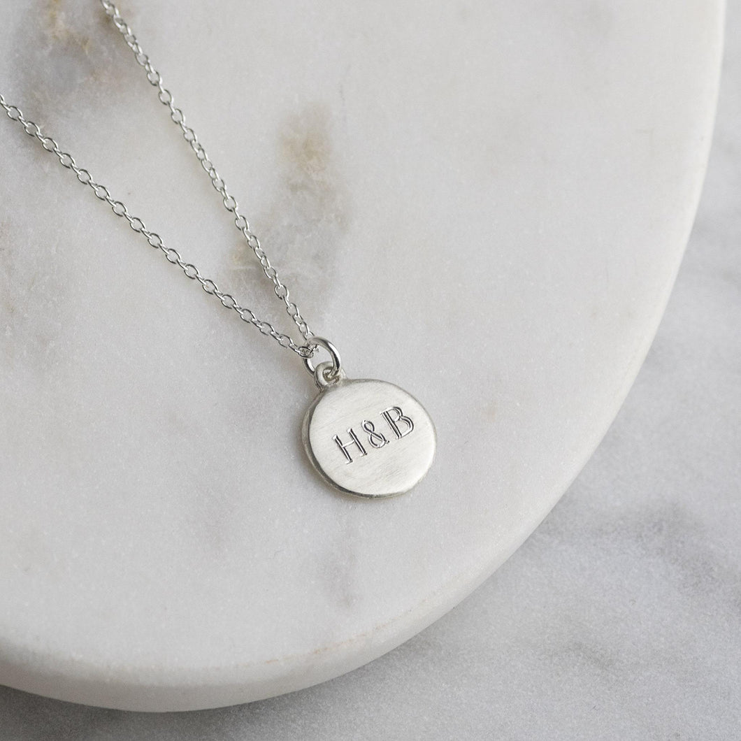 Personalised Engraved Silver Initials Necklace