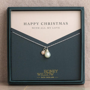 Christmas Gift for Her - Pearl Necklace with Birthstone