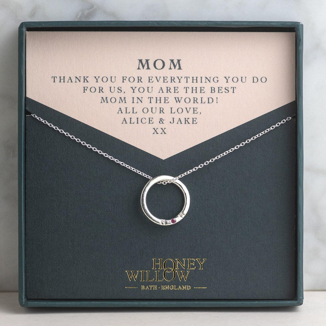 Christmas Gift for Mom - Silver MOM Necklace with Birthstone